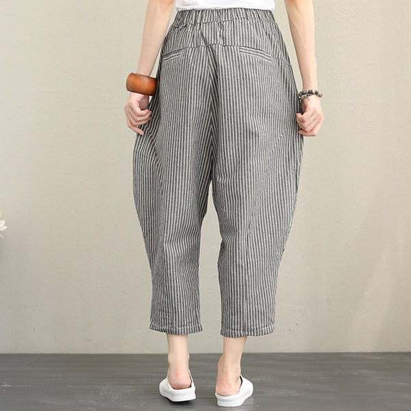 Vintage Casual Striped Cotton Linen Pants Women Fall Trousers Q1376