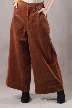 Women Corduroy Thicken Wide Leg Pants For Winter K2910