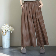 Women Cotton Linen Striped Wide Leg Pants Thicken Trousers Q1706