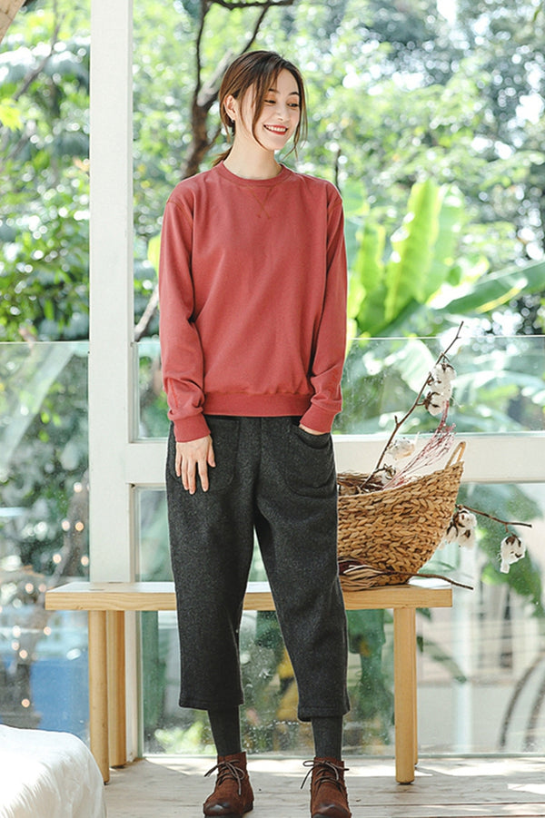 Women Loose Woolen Wide Leg Pants Casual Trousers XK840