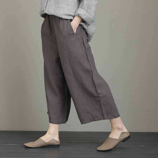 Women Loose Vintage Wide Leg Linen Pants