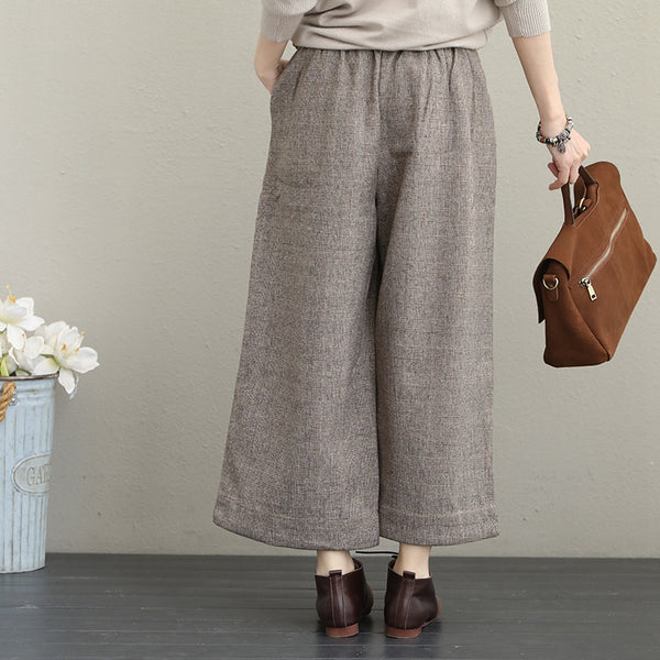 Vintage Casual Woolen Wide Leg Pants Women Warm Trousers Q1637