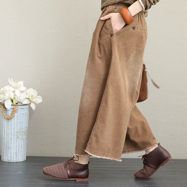 Loose Thicken Corduroy Wide Leg Pants Women Casual Trousers