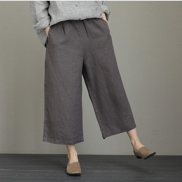 Women Summer Vintage Wide Leg Linen Pants Q817