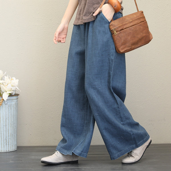 Vintage Thicken Linen Wide Leg Pants For Women