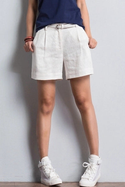 Casual Cotton Linen Shorts Women Loose Trousers K0462