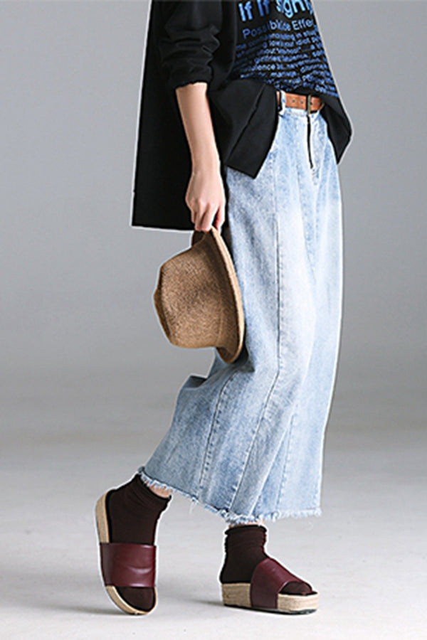 Vintage Casual Blue Denim Pants Women Wide Leg Trousers N1190