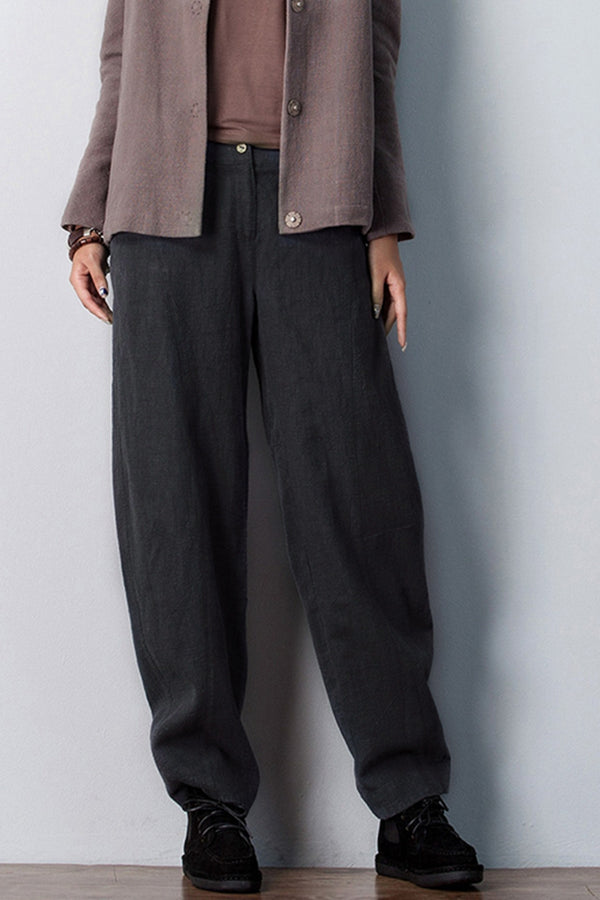 Women Casual Pencil Pants Linen Trousers K7055