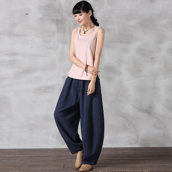 Summer Loose Cotton Linen Pants Women Casual Trousers