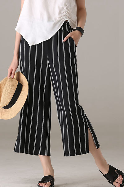Casual Wide Leg Black Striped Pants Women Summer Trousers K2581