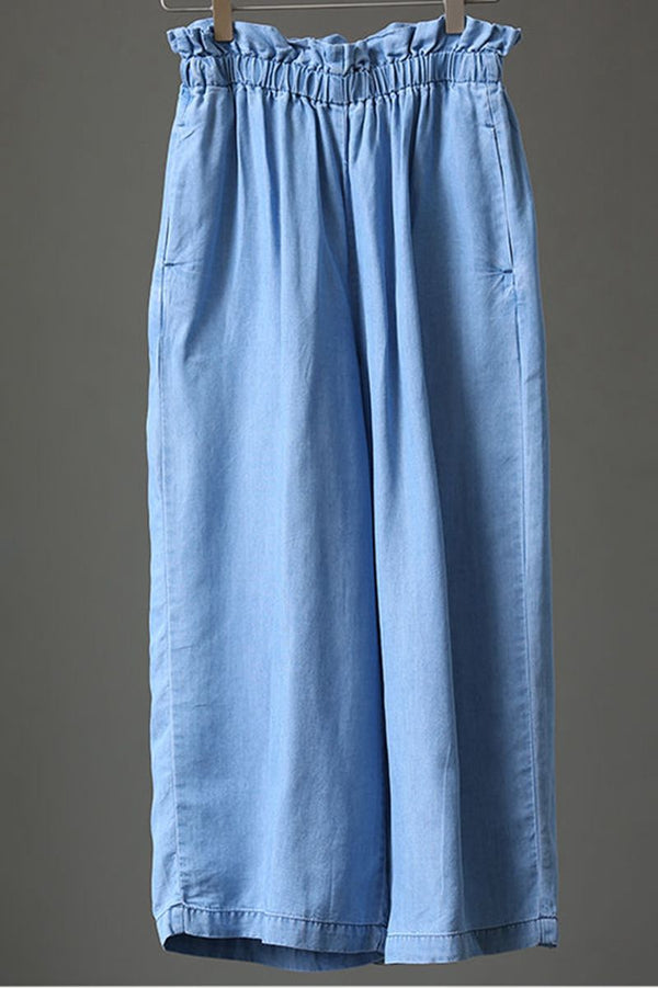 Summer Women Blue Denim Wide Leg Pants Loose Jeans N963 - FantasyLinen