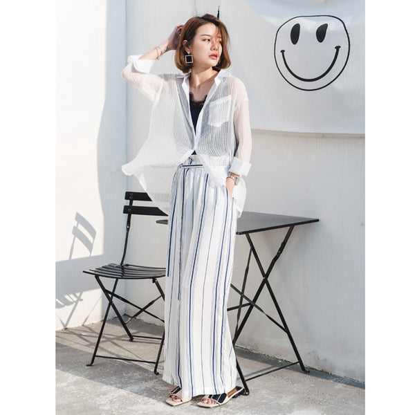 Striped High Waist Chiffon Long Pants Women Trousers K1551