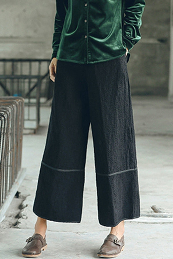 Casual Cotton Linen Wide Leg Pants Women Fall Trousers K1791