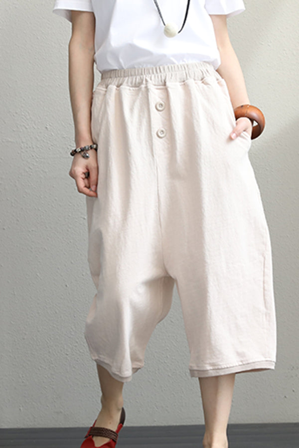 Women Summer Cotton Harem Pants Thin Trousers Q1083