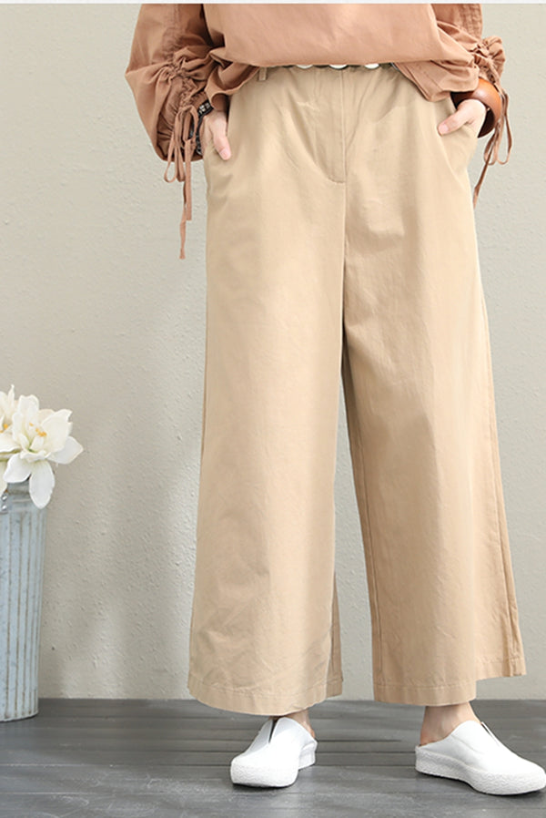 Fashion Cotton Wide Leg Pants Women Casual Trousers For Fall Q1502
