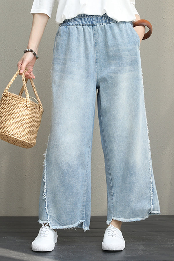 Casual Wide Leg Blue Denim Pants Women Cowboy Trousers Q1024