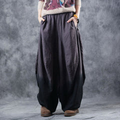 Loose Brown Linen Wide Leg Casual Pants For Women K2912