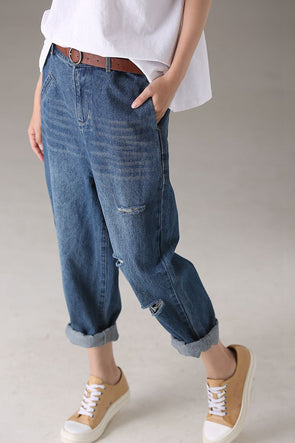 Fashion Loose Hole Blue Denim Pants Women Jeans N2719