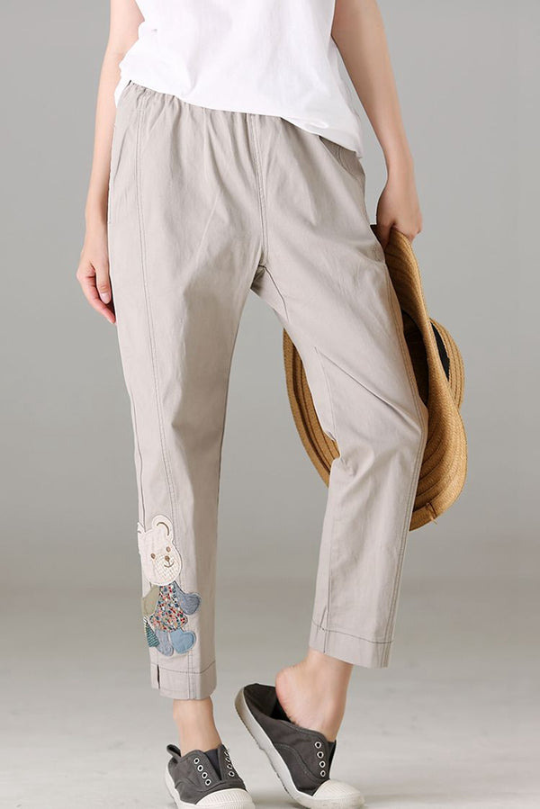 Casual Beige Cotton Pencil Pants Women Cute Trousers For Autumn K193