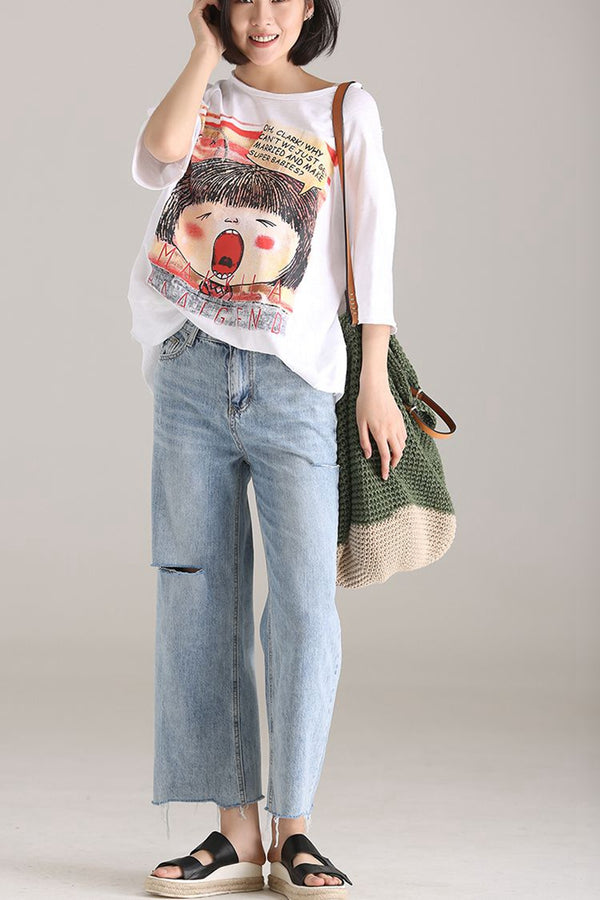 Casual Blue Cotton Wide Leg Pants Women Denim Trousers N8179 - FantasyLinen