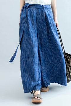 Casual Blue Striped Wide Leg Pants Women Linen Trousers K2562