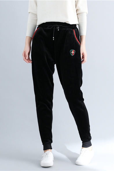 Women Black Thicken Sports Pants Casual Harem Trousers K3091