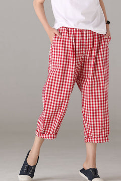Summer Red Plaid Harem Pants Women Cotton Linen Trousers K9290
