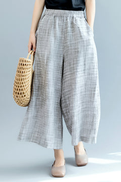 Fashion Gray Wide Leg Pants Women Linen Trousers K2561
