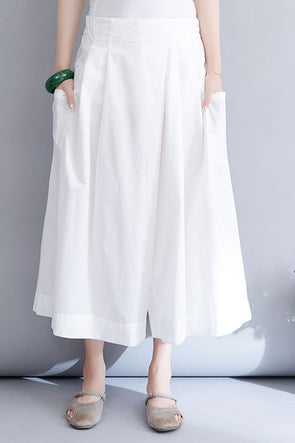 Summer White Wide Leg Pants Women Casual Cotton Trouser K2073