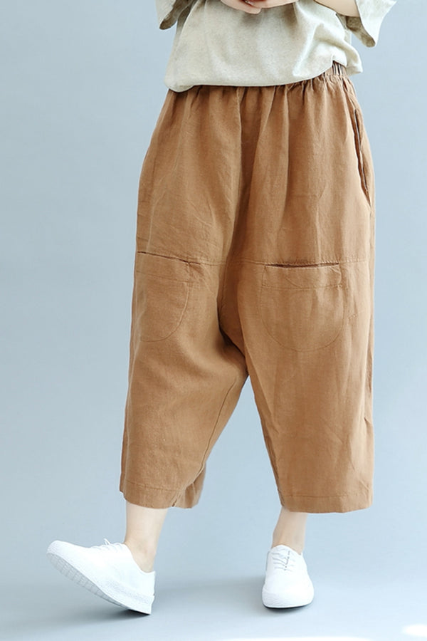 Plus Size Front Pocket Linen Pants Women Casual Trousers K2856