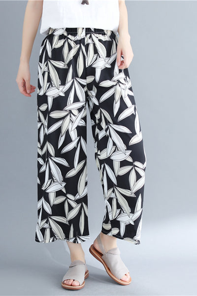 Casual Wide Leg Black Pants Women Cotton Linen Trousers K9073
