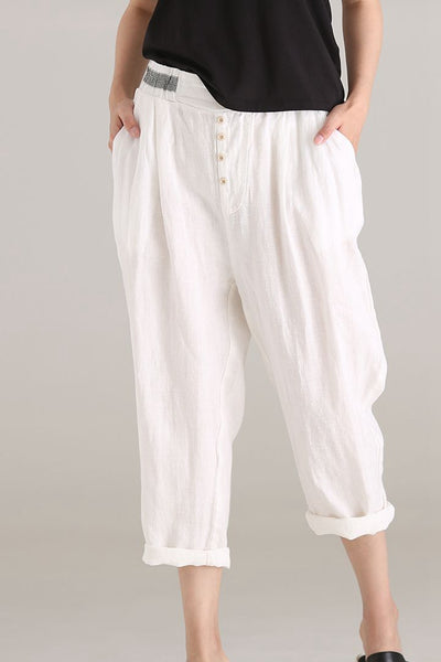 Casual Quilted Thin White Pants Women Cotton Linen Clothes K0126