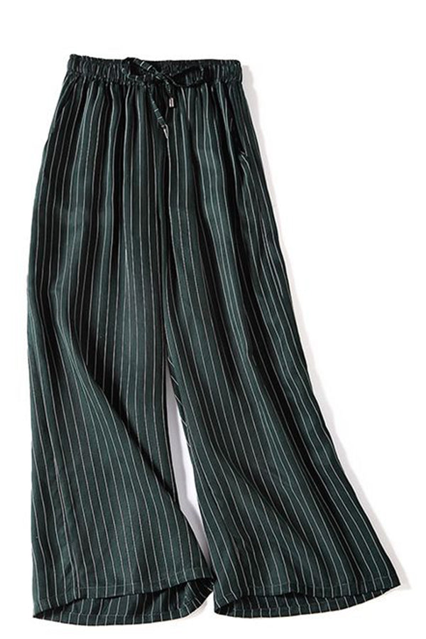 Casual Striped Loose Wide Leg Pants Women Trousers K1553 - FantasyLinen