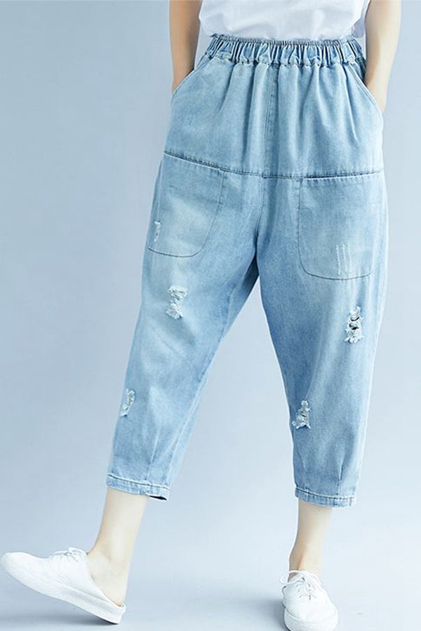Loose Blue Denim Harem Pants Women Casual Jeans K1672