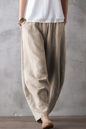 Summer Loose Cotton Linen Pants Women Casual Trousers K0461