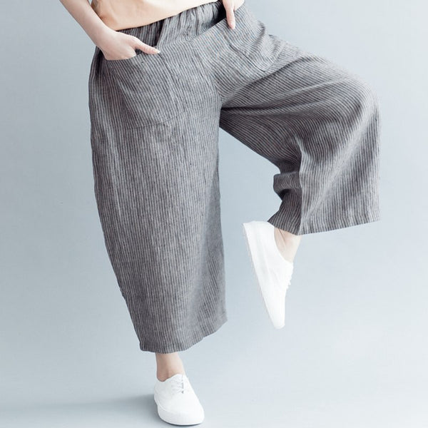 Women Striped Wide Led Cotton Linen Pants Casual Trousers K3041