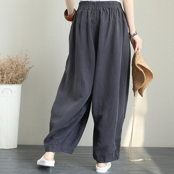 Casual Wide Leg Linen Pants Women Loose Trousers Q1290