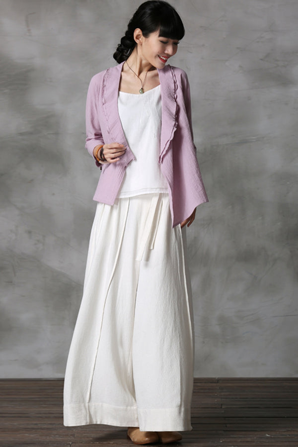 Vintage Casual Wide Leg Linen Women Pants K7056