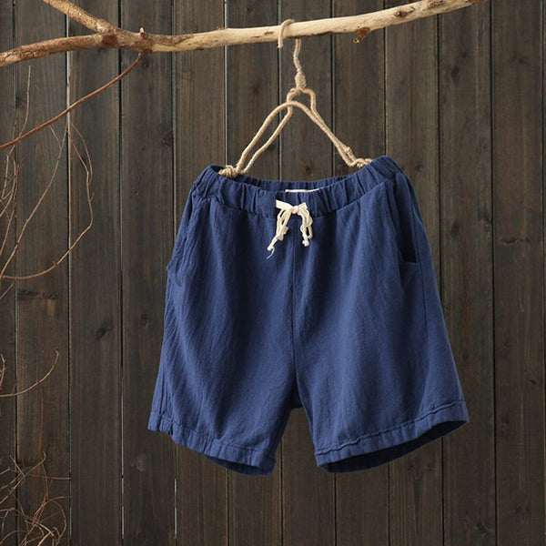 Summer Women Linen Loose Cord Shorts K1642 - FantasyLinen