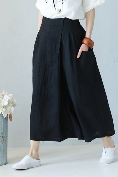 Casual Wide Leg Linen Trousers Women Summer Pants Q1161