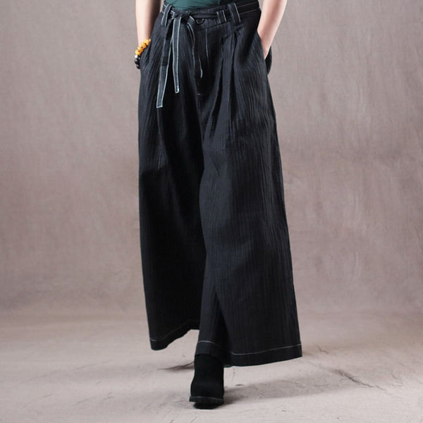 Vintage Black Cotton Linen Wide Leg Pants For Women K2911