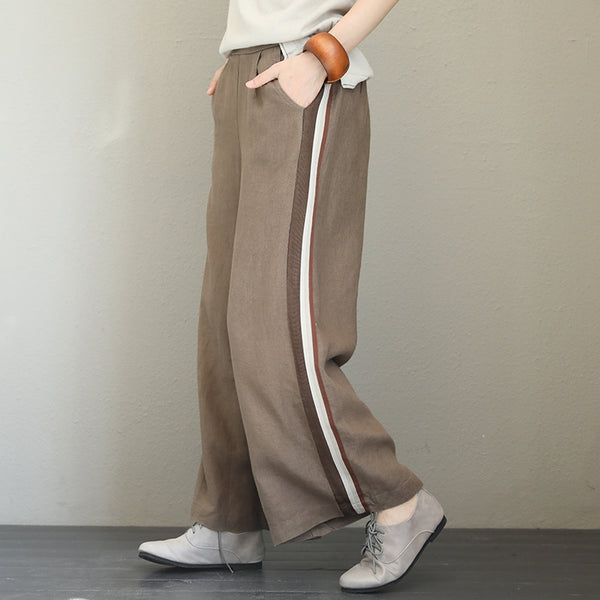 Vintage High Waist Linen Wide Leg Pants For Women Q1570