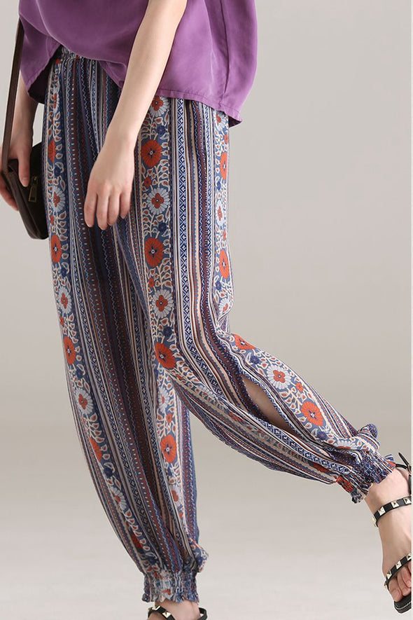 Casual Floral Chiffon Pants Women Loose Trousers K2815