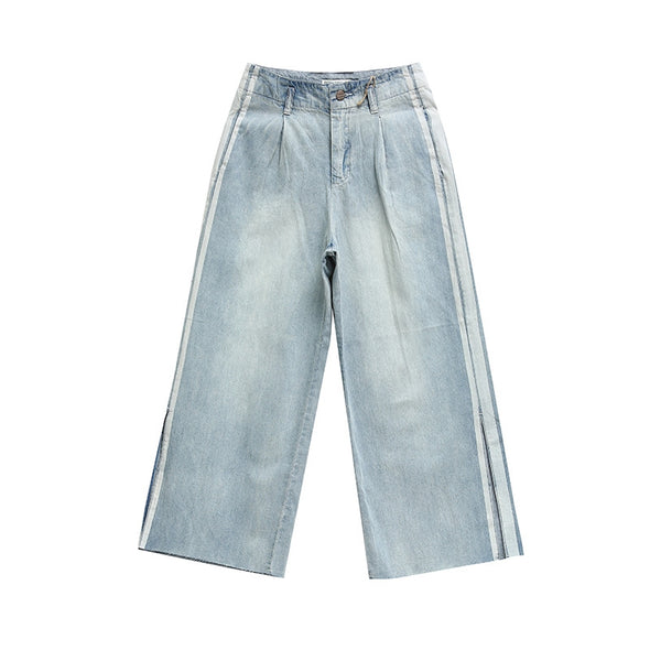 Casual Wide Leg Denim Pants Women Blue Cotton Trousers K1865