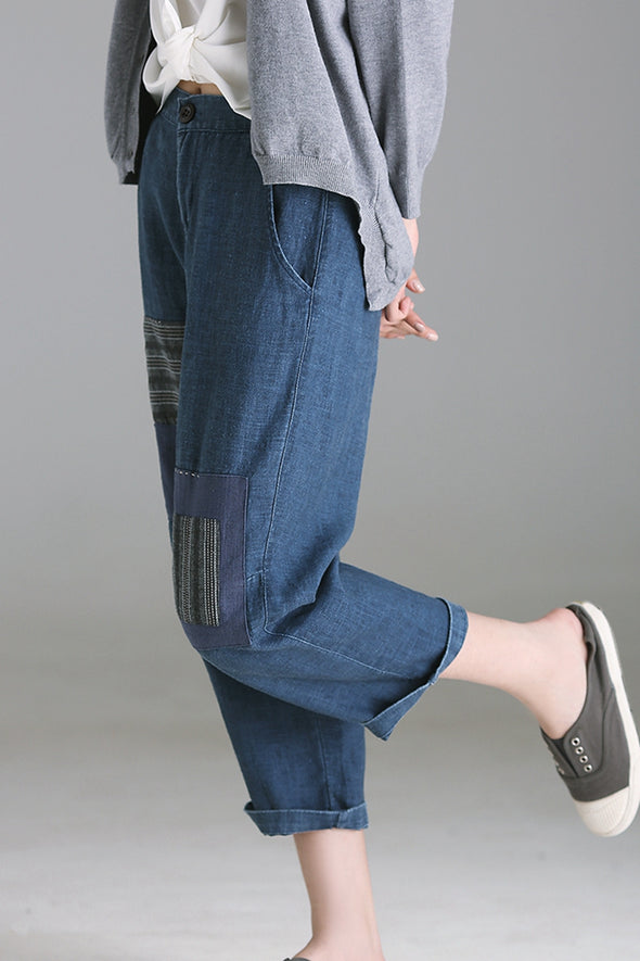 Casual Blue Cotton Linen Pants Women Trousers For Fall K0062