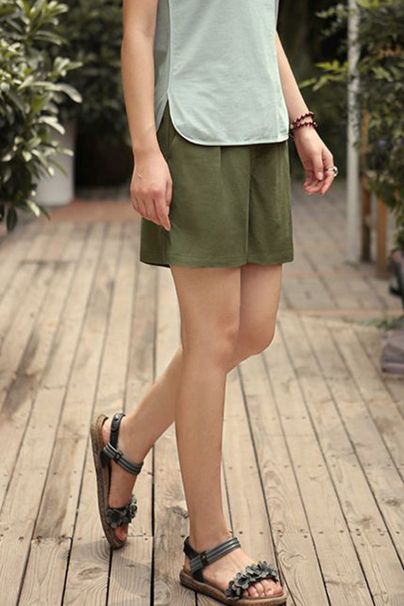Casual Cotton Linen Shorts Women Loose Trousers K0462 - FantasyLinen