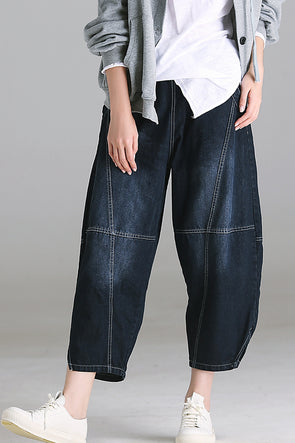 Casual High Waist Blue Denim Ninth Pants Women Fall Trousers N1807
