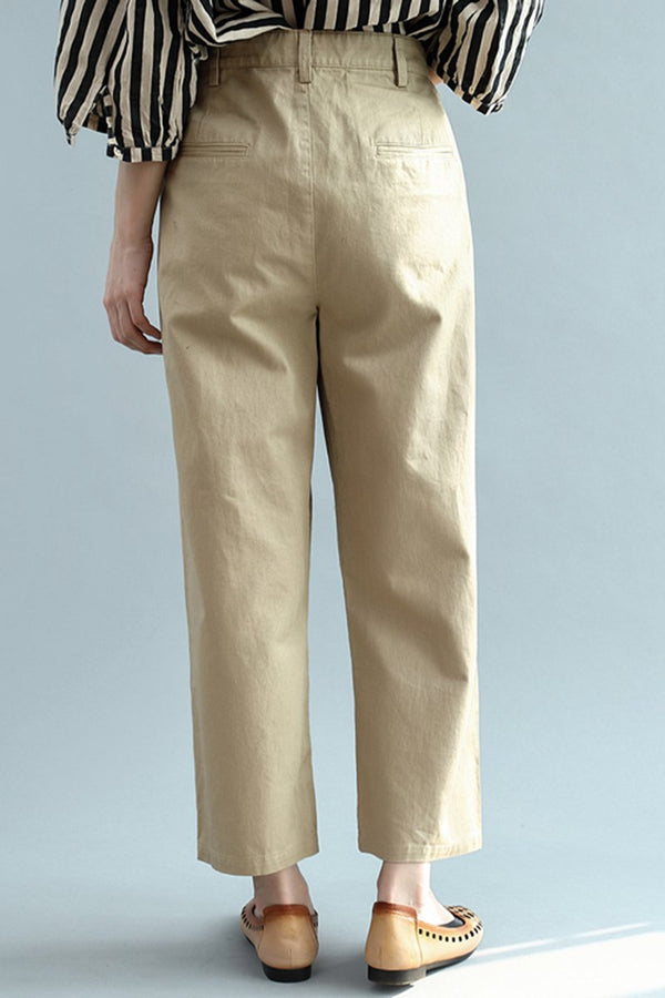 Women Loose Khaki Casual Wide Leg Pants K2342