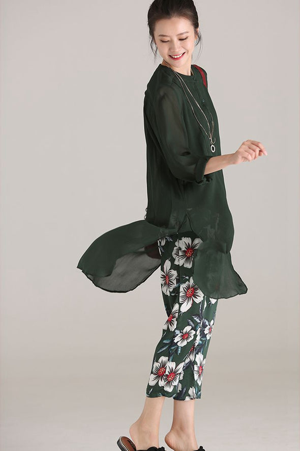 Loose Thin Floral Harem Pants Women Casual Green Trousers K307