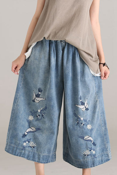 Casual Blue Embroidery Cotton Denim Trousers Women Wide Leg Pants N6807